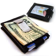 Black Genuine Leather Men's Money Clip Wallet 12 Cards Holder Front Pocket