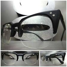 Men or Women CLASSIC VINTAGE HALF FRAME Clear Lens EYE GLASSES Matte Black Frame