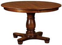 Amish Round Pedestal Dining Table Classic Solid Wood Traditional Furniture New