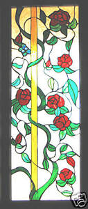 LEADLIGHT 'CLIMBING RED ROSES' STUNNING WINDOW or DOORWAY STAINED GLASS ART