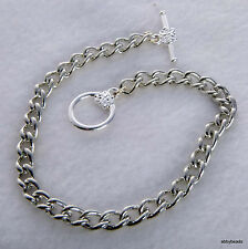 """6 Charm bracelet blank 7.5"""" Silver tone with flower toggle clasp Non tarnish"""