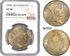 AE213, France, Napoleon, 5 Francs 1809-K, Bordeaux, Silver, NGC AU58, Pop 1/1