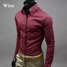 New Men's Casual Dress Shirt Slim Fit T-Shirts Formal Long Sleeve Tops Luxury.