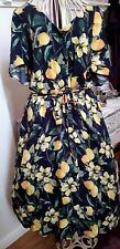 40s/50s StyleDorothy Perkins Lemon Print Button Down Tea Dress Size 14/16