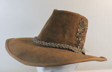 Vintage Hat Brown Suede Leather Medium Hippie Boho Cowboy Rockabilly Aussie Roll