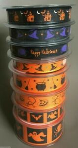 Berisfords Halloween Ribbon Spooky Hats Witch Spider 15/25/40mm x1/2/5/10/20m