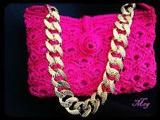Borsa Uncinetto fettuccia handmade fatta a mano Rosa Pink Catena woman bag estat