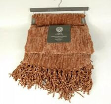 Vince Camuto Chenille Fringe Throw Blanket 50 X 60 Orange Red Burgundy NWT New