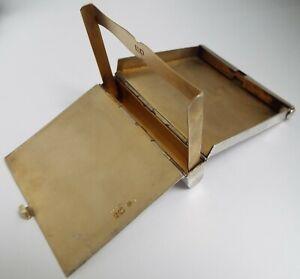 NICE RARE DESIGN MECHANICAL ENGLISH ANTIQUE 1910 STERLING SILVER CIGARETTE CASE