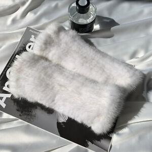 New Women's Real Mink Fur Fingerless String Knitted Gloves Wrist Mittens Sleeves