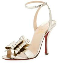 CHRISTIAN LOUBOUTIN Miss Valois Metallic Ankle Strap Sandal Sz 37