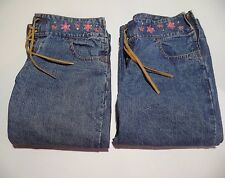 Lot of 2 Jordache Girls 8.5 Denim Jeans Capri Pants Faux Leather Lace-Up 8 1/2