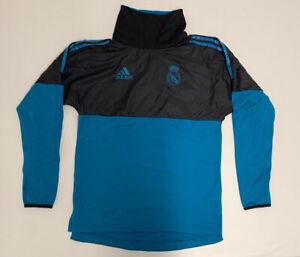 Mens Adidas sweatshirt Sz S soccer Real Madrid Fleece Training Jacket Blue Black