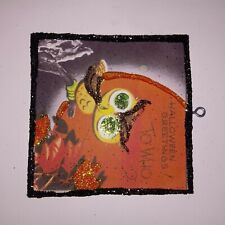 Vtg Image~Little Owl Halloween Greetings ~ Halloween Glitter Wood Ornament