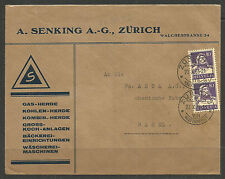 SWITZERLAND. 1933. 10c PAIR ON COMMERCIAL COVER. A SENKING AG. ZURICH TO BASEL.