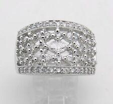 Diamond Ring Anniversary Wide Wedding Band 1.25 ct 14K White Gold Size 7