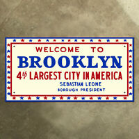 Brooklyn New York city limit highway marker road sign 1976 bicentennial 24 x 12