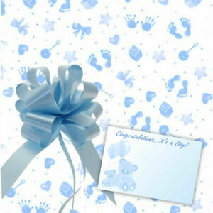 Baby Boy Cellophane Gift Wrap Baby Shower Hamper Basket Pull Bow Ribbon & Card