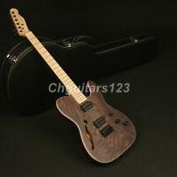 Zuwei Electric Guitar ASH Top Veneer Alnico Dual-Ways Pickups Semi Hollow body