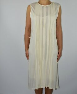 Lauren Ralph Lauren Ivory White Shift Dress Holiday Summer Pleated Size L 14 AV