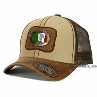 MEXICO hat Metallic Flag patched Western Style Mesh Snapback Baseball cap- Khaki