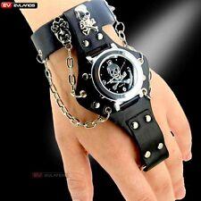 Fashion Skull Skeleton Ring Chain Steampunk Sport Quartz Wrist Watch Gift D0523