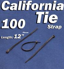 """100 X pcs Black 12"""" Tie Cord Strap 300mm Network Nylon Plastic Cable Wire Zip"""
