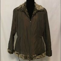 Coldwater Creek Jacket Coat Quilted Faux Fur Collar Copper Brown Sz PETITE LARGE
