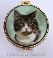 More details for alastor enamels tricolour short hair tabby cat round hinged china trinket box