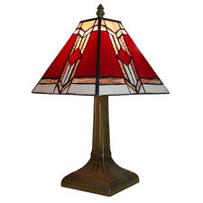 Traditional Bronze Vintage Table Lamp Aztec Lounge Light Stained Glass Shade
