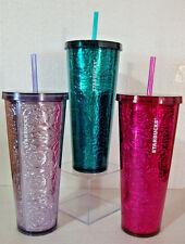 lot of 3 New Starbucks 2017 Embossed Cold Cups Pink Magenta Aqua Lavender 24 oz