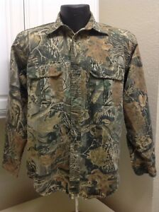 Men Cabela's Seclusion 3D Hunting Camo Button Down Long Sleeve Shirt Size Small
