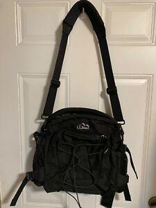LL Bean Messenger/Commuter Bag Black Nylon Belt Bag Option 14 wide/12 high