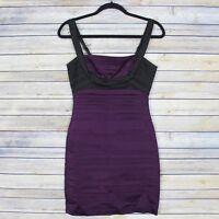 BCBG Max Azria Bandage Bodycon Dress Sleeveless Purple Black Size 2