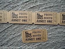 20 Kraft Brown Admit One Photo Booth Tickets Wedding Favour Birthday Party