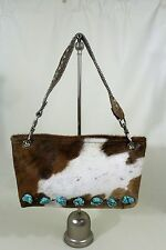 Authentic KURTMEN DESIGN cowhide leather swarovski crystals turqouise handbag