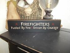 """Wood Sign Rustic """"FIREFIGHTERS"""" Wood Shelf or Desk Home Decor Country Prim Sign"""