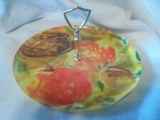 VINTAGE 1960's Fiber Glass Round Appetizer Tray W/Handle Summer Theme 11""