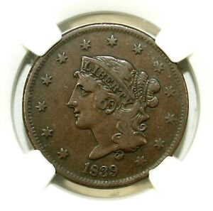 1839 NGC VF 20 BN Booby Head Coronet Head Large Cent ☆☆ Great For Sets ☆☆ 039