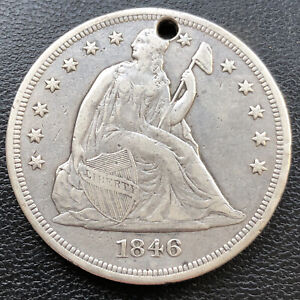 1846 Seated One Dollar $1 High Grade XF Details #28717