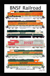 """BNSF Locomotives 11""""x17"""" Poster in 12"""" x 18"""" mat Andy Fletcher signed"""