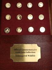 12 pièces d'or Cook-Islands, Bahamas, Bhoutan, salomon, endangered wildlife pp