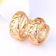 Womens Circle Huggie Hoop Earring Real Gold Filled Fashion Earrings Jewelry