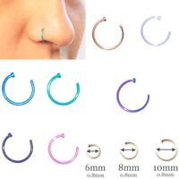 Nose Ring Fake Hoop Silver Gold 6mm Black 8mm Surgical Steel Thin Piercing