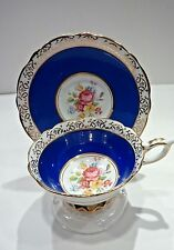 PRETTY ROYAL STAFFORD FOOTED CUP & SAUCER GOLD GILDING FLORAL