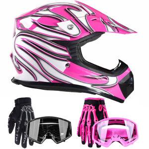 New Youth Motocross Combo Pink Helmet Black Goggles Gloves Kids DOT