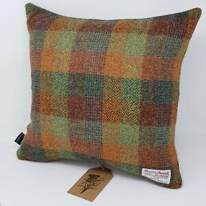 Brown Patchwork Check Tweed Autumn Wool genuine HARRIS TWEED Cushion Cover
