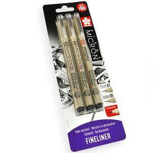 3 x Sakura Pigma Micron - Pigment Fineliner Pens - 0.1/0.5mm/Brush - Black Ink