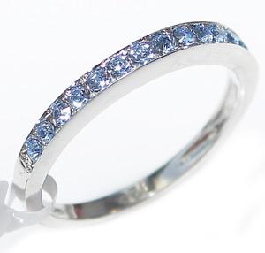 Blue Finest Grade AAA Cubic Zirconia Classy Half Eternity Sterling Silver Ring.