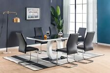 LEONARDO Black White High Gloss Glass Dining Table Set 6 Leather Chairs Seats